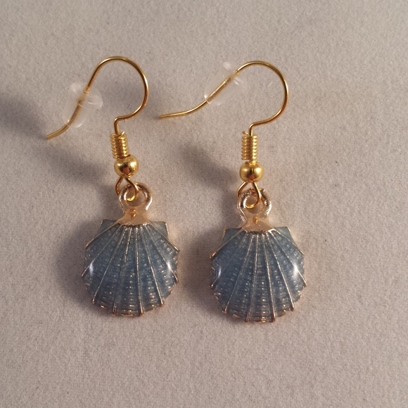 f8a95d63b Kristy's Jewels Jewelry | Gold Blue Seashell Earrings Hypoallergenic ...